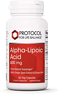 Protocol For Life Balance - Alpha-Lipoic Acid 600 mg - Free Radical Scavenger with Grape Seed Extract, Nervous System Supp...