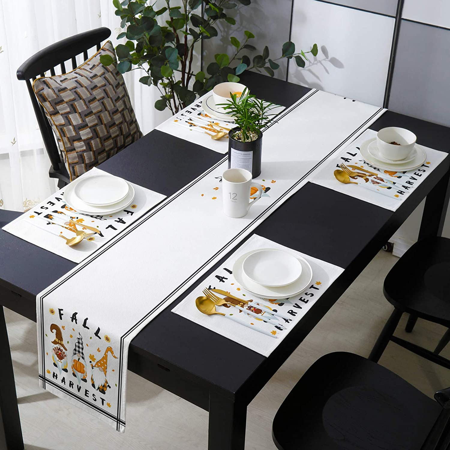 Chaven Home Table Runner with w 4 Max 55% OFF Japan Maker New Thanksgiving Placemats Gnomes