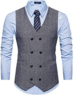 Men's Casual V Neckline Double Waistcoat Breasted Slim Modern Casual Fit Wedding Suit Vest Party Slim Retro Tuxedo Vest