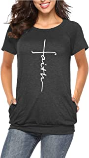 ZILIN Women's Short Sleeve Faith Printed Tunics Casual Graphic Tee T Shirts Tops with Pockets