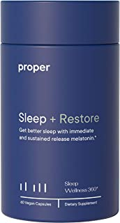 Proper Sleep + Restore - Natural Melatonin Sleep Aid and Healthy Sleep Solution for A Full Night of Restful Sleep - 60 Veg...