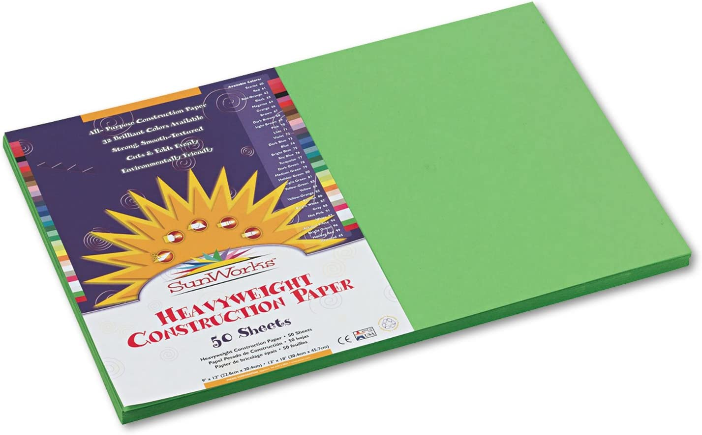SunWorks 9607 Construction Paper 58 lbs Bright x 12 18 Rare Green High material