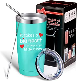 It Takes a Big Heart to Help Shape Little Minds, Thank You Teacher Appreciation Gift for Women Men, Double Wall Vacuum Insulated Travel Coffee Mug with Personalized Box, Teacher Gifts 20 oz Tumbler