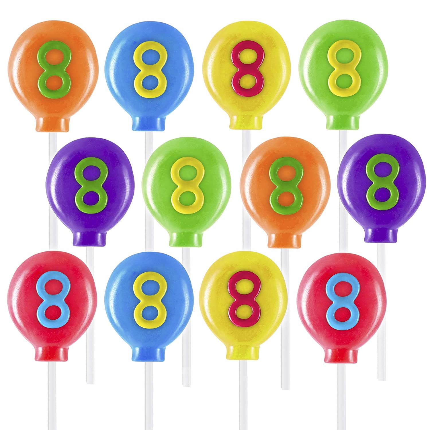 Eighth Birthday Lollipops - Pack of 12 Super beauty product Today's only restock quality top Shaped Number 8 Balloon L