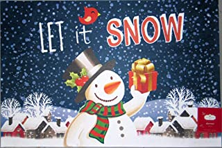 Trim A Home Christmas Holiday Snowman Let It Snow Doormat Nonskid Neoprene Backing Polyester Front 18 x 27 inches Indoor/O...