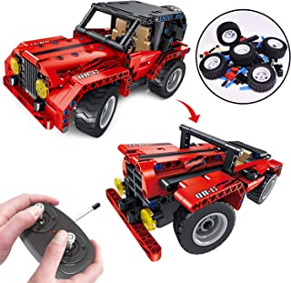 Stem Building Toys, 2-in-1 Remote Control Car, 8.7 Inch RC Truck, 333PCs Building Blocks Set for 7, 8 and 9 Year Old Boys, Leaning Toys for Kids