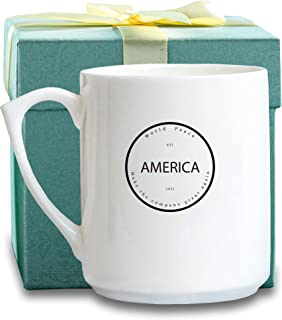 Porcelain Mug with Gift Boxes for Drinking Water,Coffee,Tea and Beverages,12 OZ,White (America)