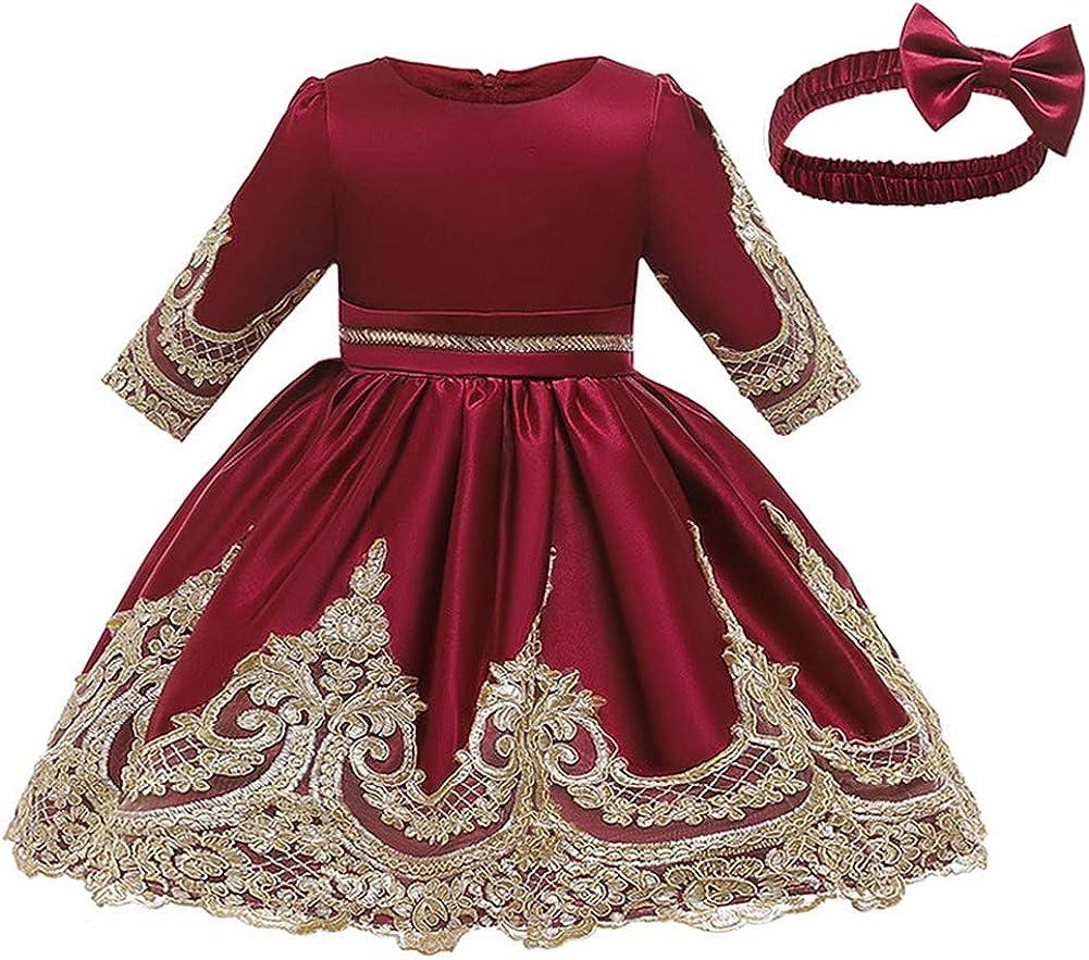 LZH Baby Dress Girls Formal Bowknot Birthday Party Tutu Flower Dress with Headwear