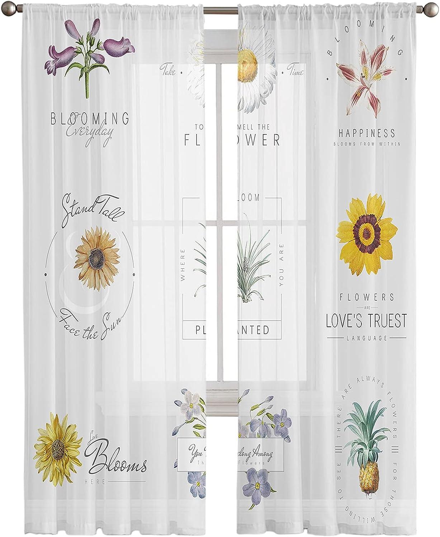 Kitchen Semi Sheer Window Curtain Panels Las Vegas Mall Fresh Su High order Long 63 Inches