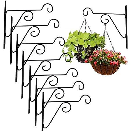 Leafy Tales Plant Hanger Brackets Wall Mounted - Metal Hanging Hooks, Holder for Indoor Outdoor Planters - Black - Set of 8