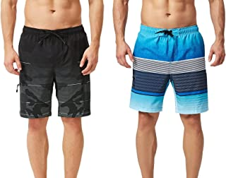 TEXFIT 2-Pack Men's Swim Trunks with Mesh Lining, Stretch Quick Dry Fabric, Three Pockets (2pcs Set)
