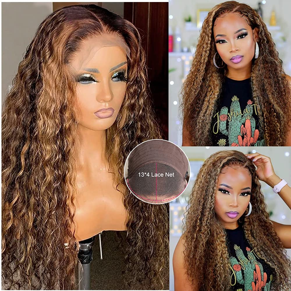 Deep Curly 13x4 Lace Front Highlight Brown Blonde to At the price Sales of surprise Wigs Honey