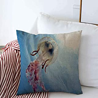 Starodec Throw Pillows Covers Cushion Case Below Blue Sea Mediterranean Jellyfish Water Aquatic Nature Abstract Light Bottom Marine Cotton Linen for Fall Couch Home Decor 16 x 16 Inches