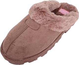 Absolute Footwear Womens Slip On Mule Slippers with Soft Thick Faux Fur Inners