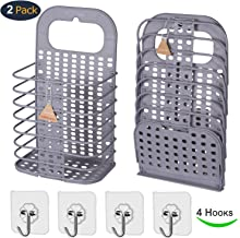 EddHomes Laundry Basket Collapsible Small Dirty Laundry Hamper Basket, Hanging Laundry Basket with Handle Plastic Collaspable Tall Laundry Basket Storage for College Dorm Women 2 Laundry Basket Gray