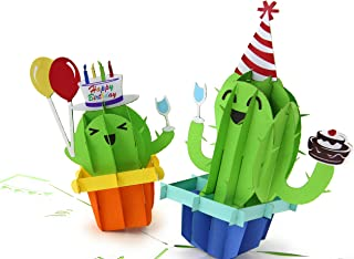 PopLife Cactus Party 3D Pop Up Happy Birthday Card - Cute Birthday Pop Up - Folds Flat for Mailing - Gift for Grandkids, Kids Bday, Office Birthday Card, Surprise Party, Cactus Gifts, Desert Theme