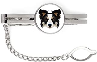 Clip with an Image of a Dog Geometric Collie tie pin Elegant