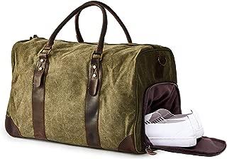Heavy Duty Canvas and Genuine Leather Duffel Gym Bag w/Shoulder Strap
