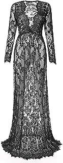 Chic V-neck Maxi Dress for Women, L, Black