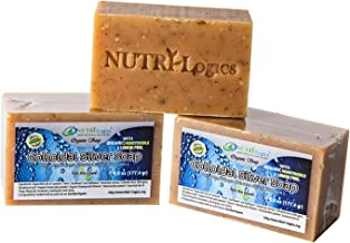 NUTRI-Logics' BEST - CERTIFIED ORGANIC HONEYSUCKLE LEMON COLLOIDAL SILVER SOAP- 6.1 OZ BAR SOAP (1 BAR) - INFUSED with SPRING FRESH HONEYSUCKLE AND LEMON OILS - ANTIBACTERIAL/ANTIFUNGAL