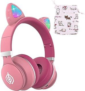 Auriculares Bluetooth ONXE para niños, con luz LED, inalámbricos, plegables, con micrófono y control de volumen para iPhone/iPad/Smartphones/Laptop/PC/TV (rosa)