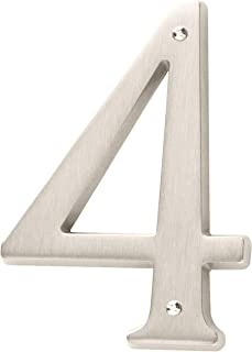 Baldwin Estate 90674.150.CD Solid Brass Traditional House Number Four in Satin Nickel, 4.75