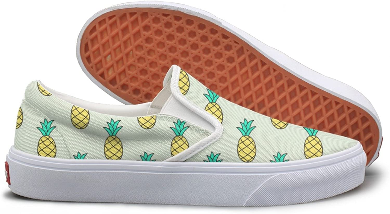 SEERTED Hand-Drawn Pattern with Pineapple Slip On Canvas shoes for Women