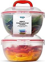 Komax Biokips Large Salad Bowl with Lid | Set of 2 Clear Mixing Bowls 4.2qt | BPA-FREE Plastic Storage Bowls with Locking ...