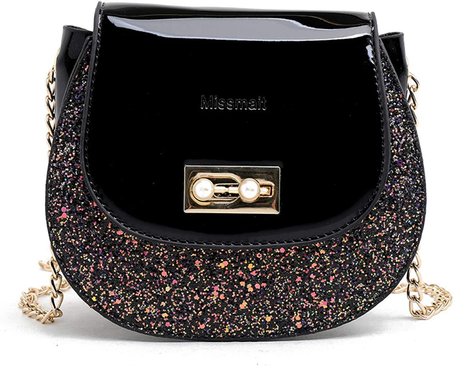 CLEBAO Saddle, Trend, Korean, Wild, Crossbody, Chain, one Shoulder, Foreign, Mini, Coin Purse, Black, M