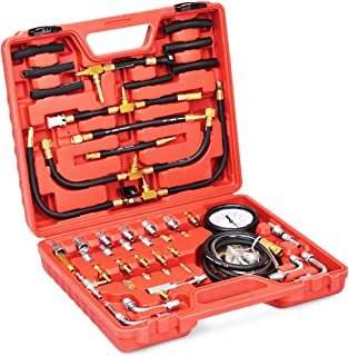 Goplus Profession Fuel Pressure Test Kit, 0-140PSI/10 Bar Fuel Injection Pressure Gauge Tester w/Complete Adapters, Dual Scale, Flex Hoses, Fittings, Lower Oil Warning Devices for Trucks, Cars, ATVs