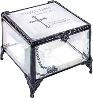 First Communion Gift for Girls Personalized Clear Beveled Glass Engraved Cross Jewelry Rosary J Devlin Box 326 EB220