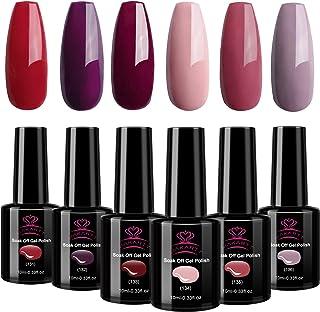 Makartt Red Gel Nail Polish Kit 10 ML 6 Bottles Perfect Goddess temperament Colors UV LED Lamp Required Soak Off UV gel na...