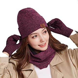 Winter Hat Scarf for Mens and Women 2-Pieces Winter Warm Hat Scarf Knit Beanie Fleece Lined Thermal Cap