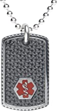 Divoti Custom Engraved Black Stainless Steel Medical Alert Necklace, Medical ID Necklace Men, Medical Dog Tag and Chain w/Free Engraving -24/28
