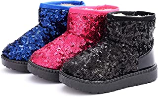 DADAWEN Boy's Girl's Warm Winter Sequin Waterpoof Outdoor Snow Boots