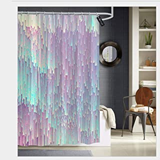 SZZWY Iridescent glitches Shower Curtain 3D Printing Waterproof Coated Polyester Fabric Bathroom with 12 Hooks 71 inches