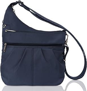 Travelon Anti-Theft Signature 3 Compartment Crossbody, Straight Pocket (Blue - Exclusive Color)