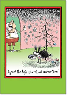 12 'Dog Peed Tree Boxed Christmas' Note Card Set w/Envelopes 4.63 x 6.75 inch, Happy Holiday Stationery with Funny Dog Comic, Humorous Greeting Cards for Xmas, Gifts, Parties, New Year's Eve B5842