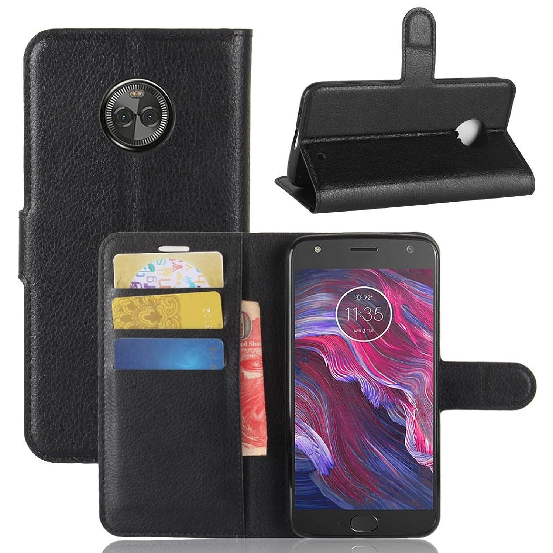 Moto X4 Case, [LuckQR] Premium Luxury Leather Wallet Case, Folding Kickstand, Folio Design with Card & Cash Slot, Full Body Protective Cover Case For Motorola Moto X4 / Moto X (4th Generation) - Black