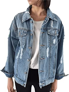 Beskie Oversized Denim Jacket for Women Destoryed Long Sleeve Boyfriend Jean Jacket Loose Coat