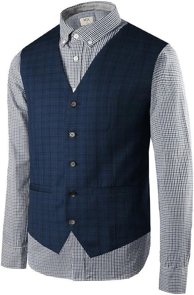 Hanayome Men's Fashion Business V-Neck Casual Slim Fit Suit Vest Plus Size Jacket SI5 (DarkBlue,XXL)