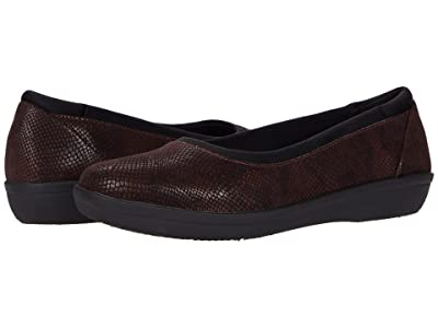 Clarks Ayla Low (Burgundy Snake Print Synthetic) Women
