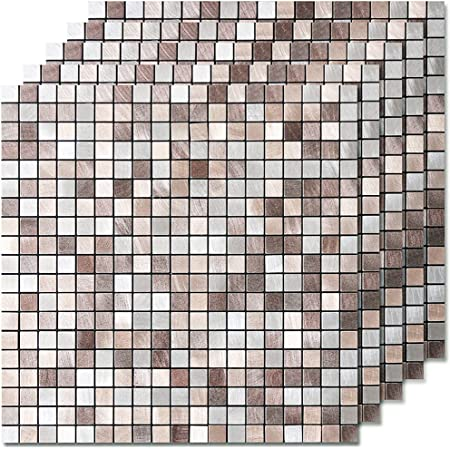 DICOFUN Peel and Stick Tile Backsplash, Kitchen Backsplash Peel and Stick Mosaic Tile, Copper Tiles for Bathroom & Fireplace, 5 Sheets