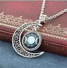 Tmrow 1pc Women Fashion Crescent Moon Pendant Necklace Triple Moon Gem Necklace