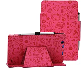 i-UniK Nextbook Ares 8A Compatible Model #NX16A8116 K/R/B/S Android 6.0 Tablet Cover CASE [Bonus Stylus] (Cute Pink)