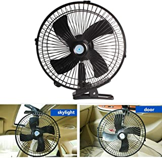 MASO 10inch 12V Car Van Home Electric Air Fan 180°rotation Desk Fans 2 Speed Airflow with Clip