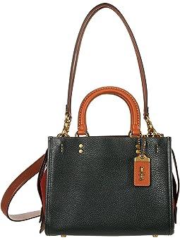 코치 사첼백 COACH Color-Block Leather with Suede Gusset Rogue 25,Amazon Green Multi