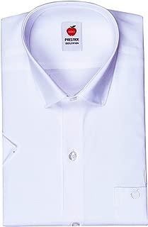 Riro Men's Half Sleeves Plain Cotton Regular Fit Formal/Traditional White Shirt