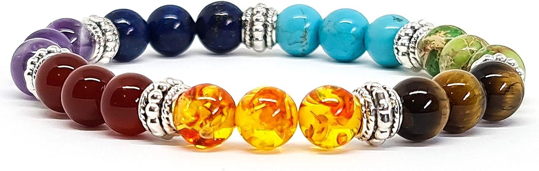 Kirei Paris Bijoux - Pulsera para hombre y mujer, piedras naturales, 8 mm, con ojo de tigre y 7 chakras para ofrecerte protección de fuerza y ...