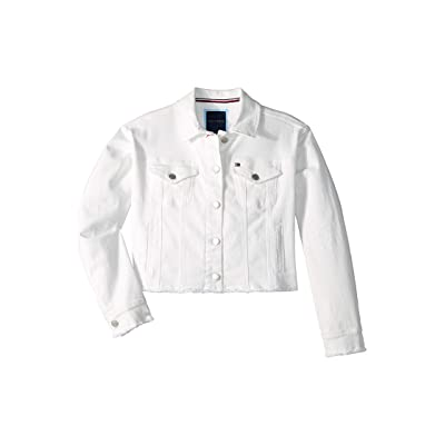 Tommy Hilfiger Kids Abraided Denim Jacket (Big Kids) (White) Girl